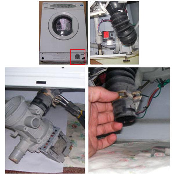 при засоре фильтра или насоса- очистка системы слива