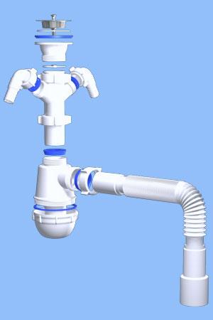 Сифон Ани Грот 1 1/2дюйма *40 с 2-мя отводами для стиральной и посудомоечной машины с гибкой A1115