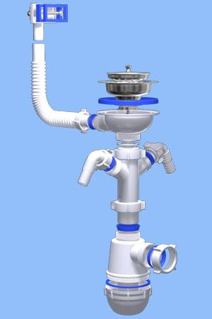 А0146 Сифон Ани Грот 3 1/2дюйма с двумя отводами для стиральной и посудомоечной машины и с переливом мойки