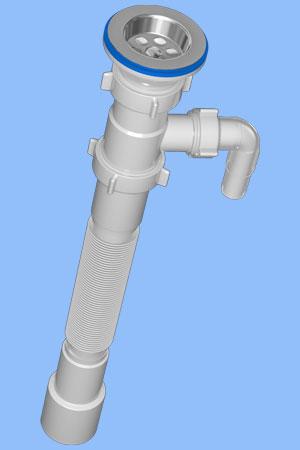 G108 Сифон гофрированный 1 1/2дюйма *40/50 с отводом для стиральной машины